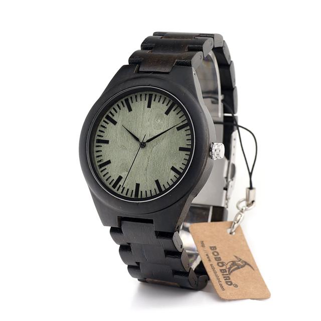 Bobo bird h03 mens dial negro reloj de madera de ébano de madera verde madera Vínculos Causales De Madera de Cuarzo Reloj de Pulsera para Los Hombres de Regalo caja