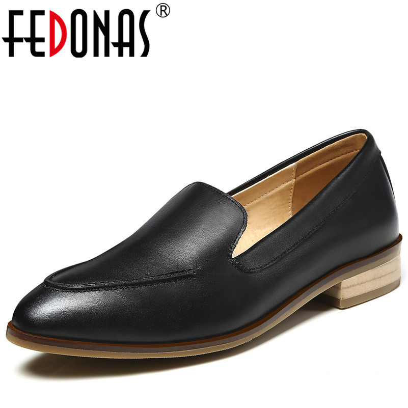 FEDONAS 2018 Quality Spring Autumn Women Oxford Shoes Flats Shoes Women Genuine Leather Boat Shoes Round Toe Flats Moccasins asumer white spring autumn women shoes round toe ladies genuine leather flats shoes casual sneakers single shoes