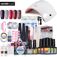 Modelones полный набор Инструменты для маникюра Soak Off 5 цветов УФ-Неон гель для ногтей Дизайн ногтей маникюрный набор 24 Вт УФ-лампы База гель лаки для ногтей Инструменты для маникюра