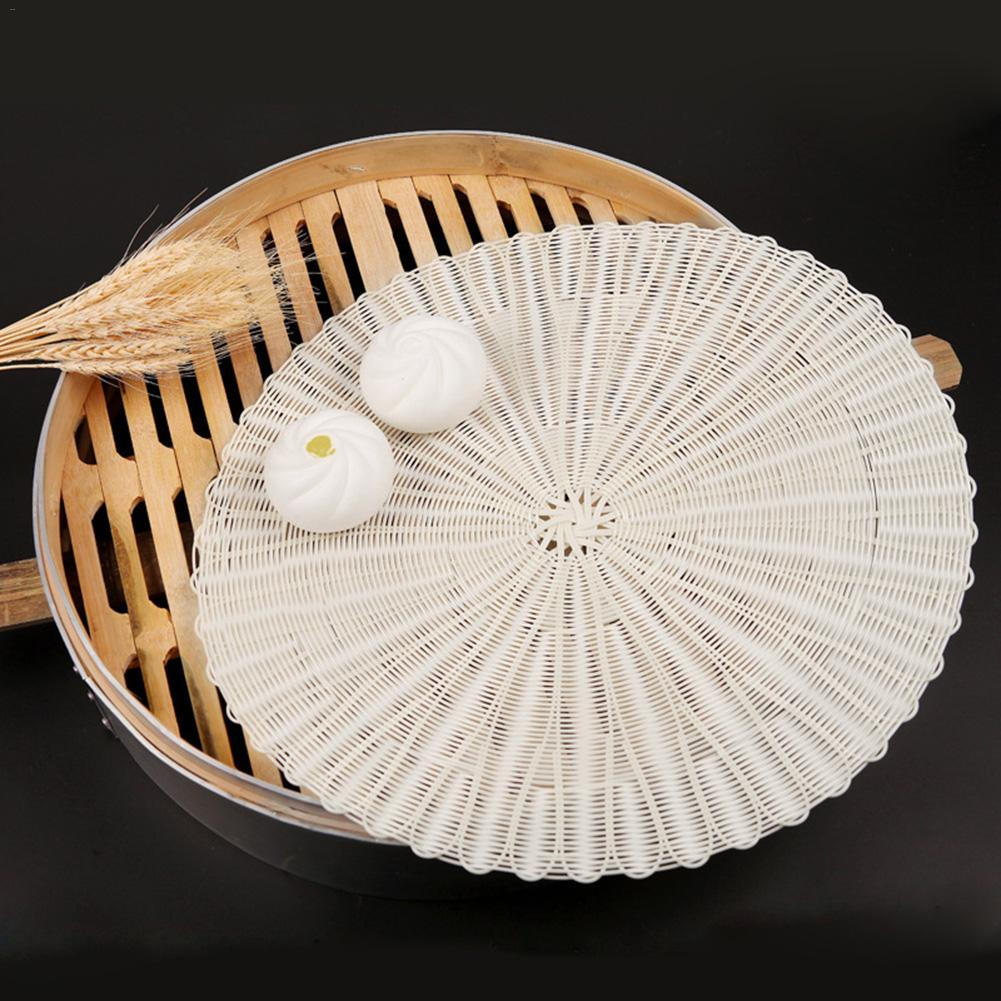 Bamboo Basket Steamer Mat Silicone Reusable Non-sticky Rattan Pad Dim Sum Paper Kitchen Cooking Tool Accessory For Food Steamer