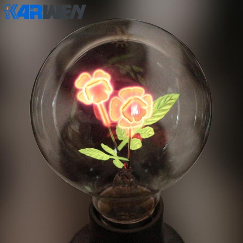 KARWEN Edison Bulb E27 indoor night light G80-Rose & Flower & I-Love-You Holiday christmas wedding decor incandescent Bulbs
