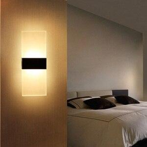 Image 2 - אקריליק מנורת קיר פשוט סגנון אורות מיטת סלון מלון מסדרון מעבר LED קיר אורות AC110V 220V גופי תאורה