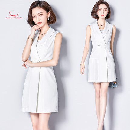 Professional women summer 2018 new fashion slim workwear dress sleeveless OL temperament beauty salon work clothes