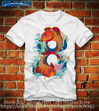 Cool Summer Tees Popular  Crew Neck Short-Sleeve Office Carp Fisch Fish Flowers Tee For Men