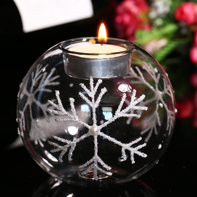 Christmas Glass Candle Holders with White Snowflake, Tealight Holder Centerpiece Xmas Candlestick Party Wedding  Home