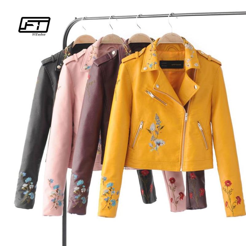 Fitaylor осень Байкер куртка женщин вышитые куртка-бомбер куртка из искусственной кожи с цветочным принтом Розовый Черный мотоциклетная кожан...