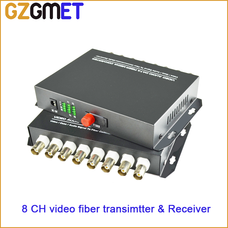20km 8 Channel Digital Video Optical Fiber Media Converters Transmitter & Receiver for CCTV Analog Cameras Surveillance System