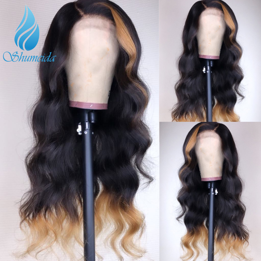 SHD Ombre Color Human Hair Lace Front Wig Baby Hair Brazilian Body Wave Remy Hair Glueless