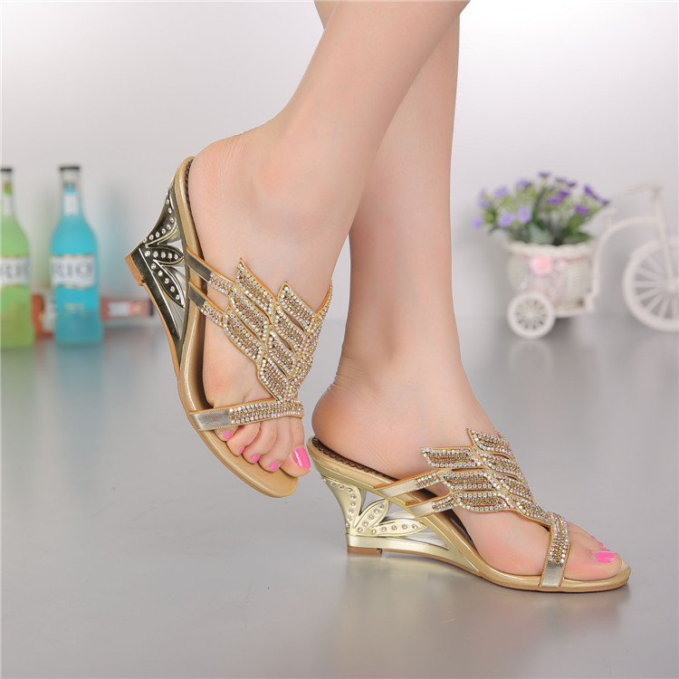 2016 Summer New Diamond Slope With High Heeled Wedges Online Shoes Sandals Size 11 Womens Golden Open Toe Slippers5