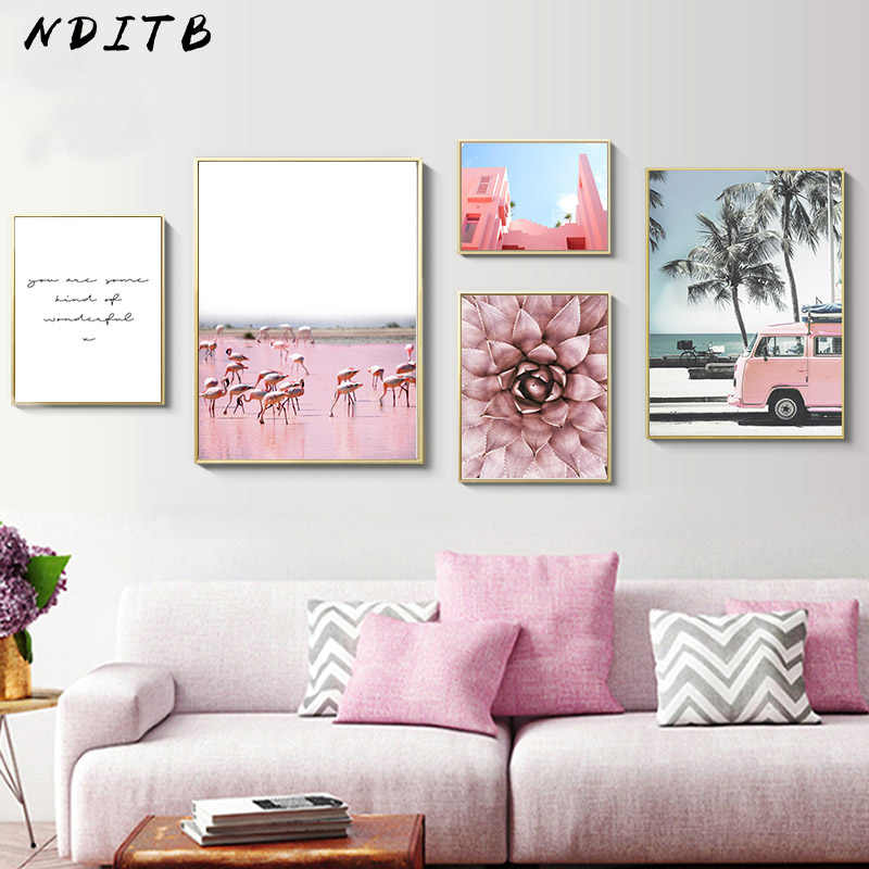 Scandinavian Flower Pink Bus Poster Nordic Scenery Wall Art Canvas Print Painting Modern Home Office Room Decoration Picture