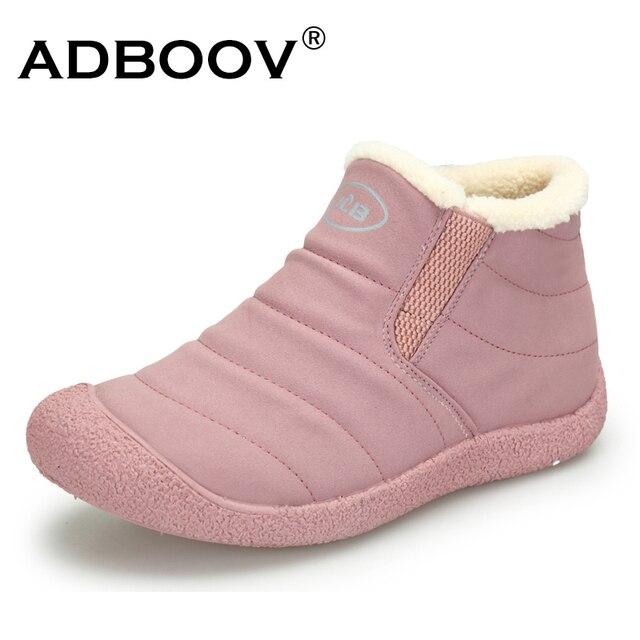 ADBOOV su geçirmez kar botları kadın kürk çizgili açık kış ayakkabı hafif kayma ayak bileği patik bayanlar soğuk hava ayakkabı