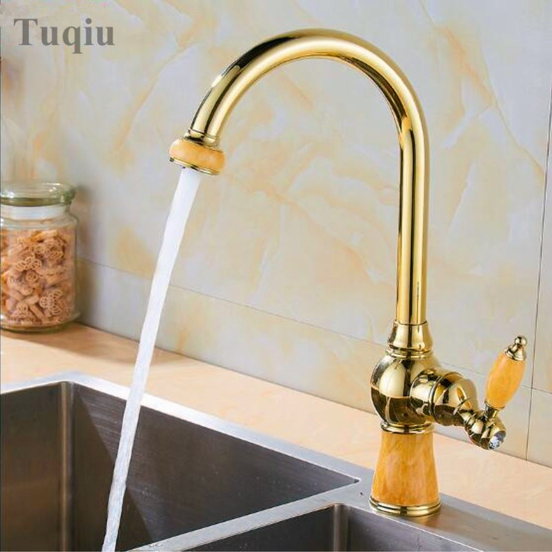 Free Shipping New Brass And Jade Kitchen Faucet Swivel Basin Sink Mixer Tap Noble Gorgeou Kitchen Tap Mixer Single Handle Faucet new arrival tall bathroom sink faucet mixer cold and hot kitchen tap single hole water tap kitchen faucet torneira cozinha