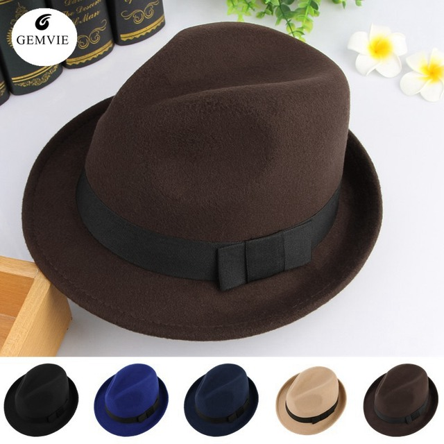 2372d1a50138a 5 Colors Autumn Winter Warm Felt Hats For Men Casual Solid Color Jazz Caps  Gangster Trilby