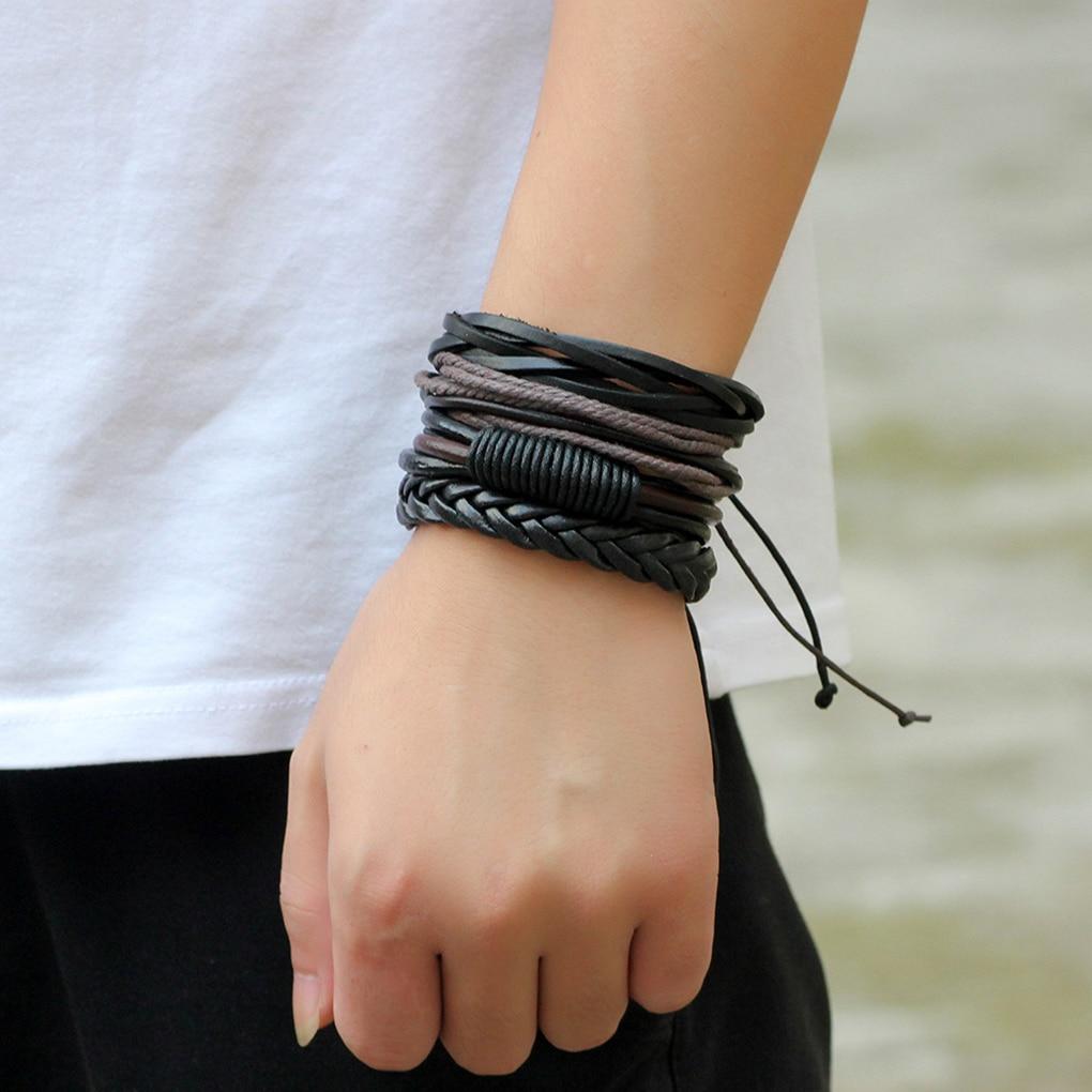 4Pcs/set Men Boys Leather Bracelet Woven Bangles Vintage Male Birthday Gift Jewelry Wristband