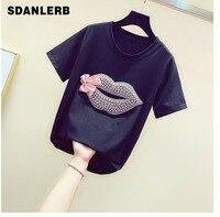 Nail beaded Lip print Bow tie T shirt with Round Collar Loose Korean Tshirt Girl Lady New Summer Shirt Shirts Tops