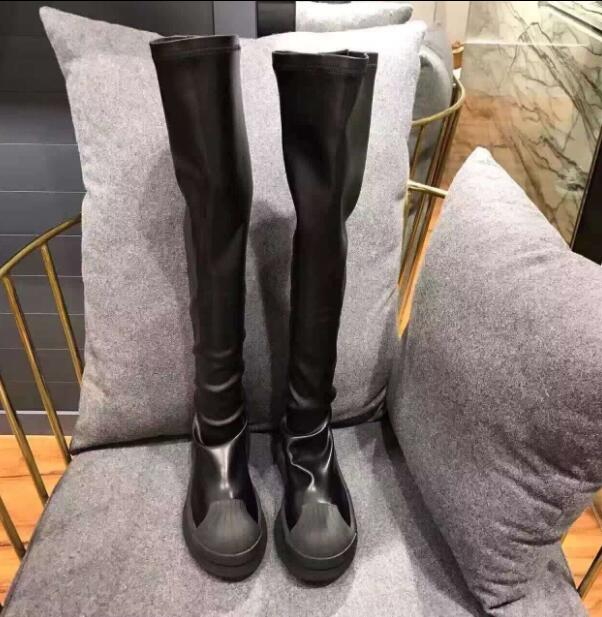 New Black Elastic Platform Flats Long Boots over-the-knee Boots Booties With Fur Fashion Autumn Winter Female Shoes Woman 2017 winter new clothes to overcome the coat of women in the long reed rabbit hair fur fur coat fox raccoon fur collar