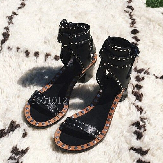 Hot Summer Chunky Heel Jaeryn Eyelet-Embellished Women Sandals High Heels Cognac Caroll Elvis Bordered Ankle-Wrap Shoes Woman