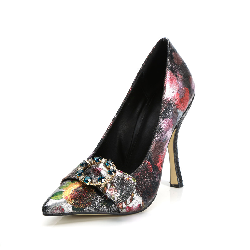 Woman shoes 2018 classical rhinestone round buckle pumps sexy high heels printed multi colors stilettos party shoesWoman shoes 2018 classical rhinestone round buckle pumps sexy high heels printed multi colors stilettos party shoes