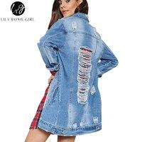 Лили Rosie для девочек Синие рваные выдалбливают джинсовая куртка Повседневное карман длинное пальто осень-зима 2017 Женская Базовая верхняя о...