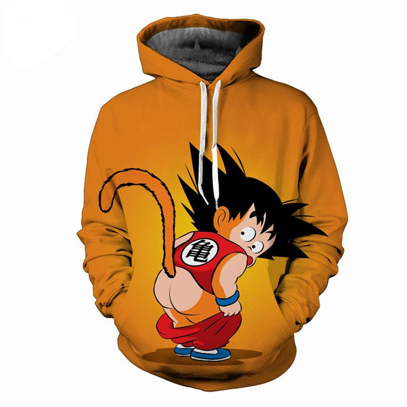 Anime Yellow Hoodies 2018 Spring Harajuku Dragon Ball Z Printed 3d Sweatshirt Hoodie Men Casual O-neck Sweats Jacket Unisex