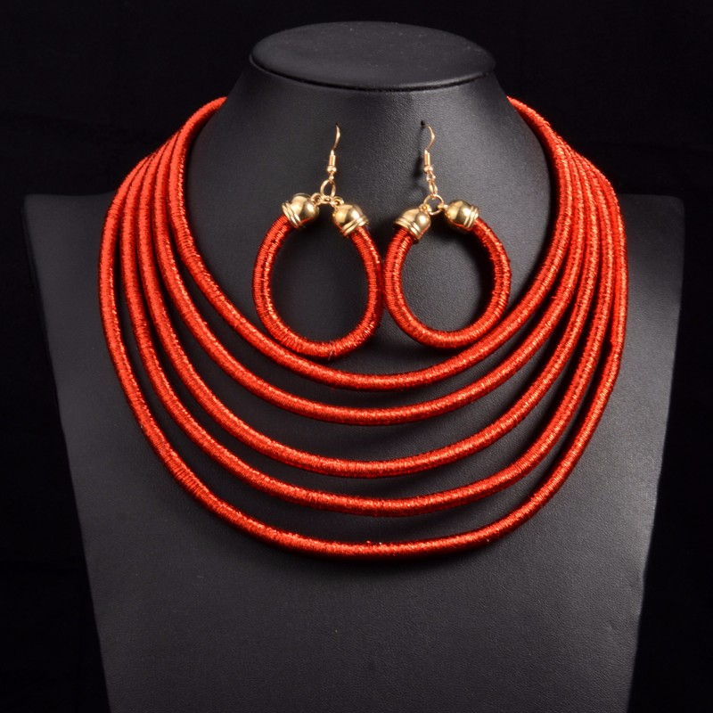 Multi-layer Cord Collar Necklace and Earrings Set