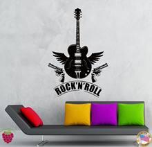 G064 Wall Stickers Vinyl Decal Rock N Roll Guitar Guns Music Decor Living Room Decorative Bedroom Sticke