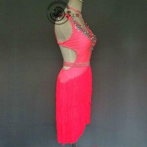 Image 2 - Donne Del Ricamo di lusso abbigliamento per la danza latino spandex pietre latino vestito da ballo della signora di ballo latino vestiti di prestazione delle ragazze del vestito