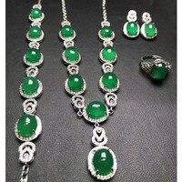 Ю. Синь юаней Fine Jewelry 925 серебряная мозаика, натуральный лед зеленый халцедон Цепочки и ожерелья браслет кольцо шпильки Arrings четыре комплекты
