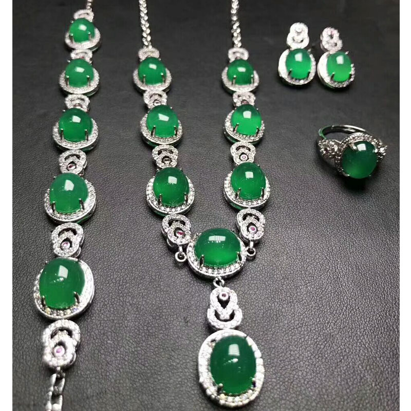 Yu Xin Yuan Fine Jewelry 925 Silver Mosaic Natural Ice Of Green Chalcedony Necklace Hand Catenary Ring Stud Arrings Four Sets цена