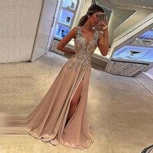 Prom Dresses Sexy Deep V-neck vestido formatura Long Dress Slit Sleeveless Appliques