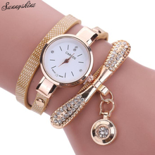 Fashion Women's Watches Leather Rhinestone Clock Analog Quartz Wrist Watches wholesale