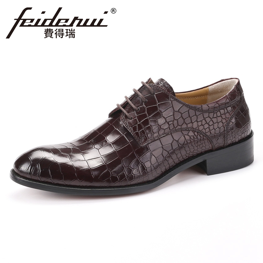2018 High Quality Men's Formal Dress Footwear Genuine Leather Alligator Round Toe Lace-up Man Derby Wedding Party Shoes YMX454 elanrom summer men formal derby wedding dress shoes cow genuine leather lace up round toe latex height increasing 30mm massage