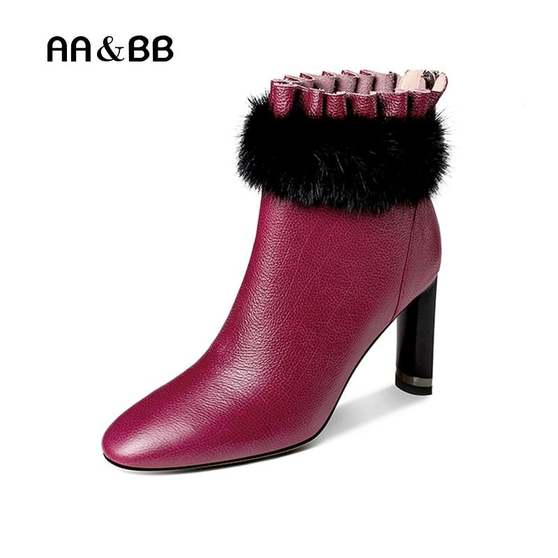 AA&BB black/purple cow leather mink women ankle boots sexy high heels pointed toe elegant thin heels boots woman the purple cow магнитная игра магнитные буквы английские the purple cow