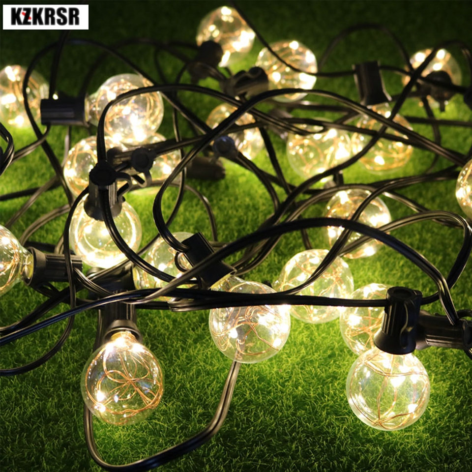AC 7.5M G40 string lights Christmas Lights outdoor LED patio lights With Copper Wire Lamps led Lights For Wedding Holiday Party 8 8m g40 globe string lights bulbs outdoor waterproof patio lights copper wire led holiday lights ball wedding home decoration