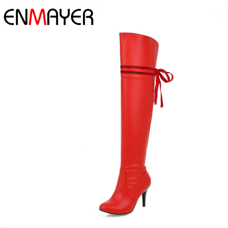 где купить ENMAYER Sexy Red Shoes Woman High Heels Bowties Charms Size 34-47 Zippers Round Toe Winter Over-the-knee Boots Platform Shoes дешево