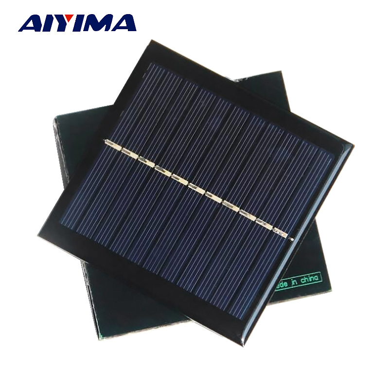 Aiyima 2pcs 5.5V 1W Polycrystalline Solar Cells Solar Panels SunPower 95x95mm DIY Solar Battery Charger Painel Solars