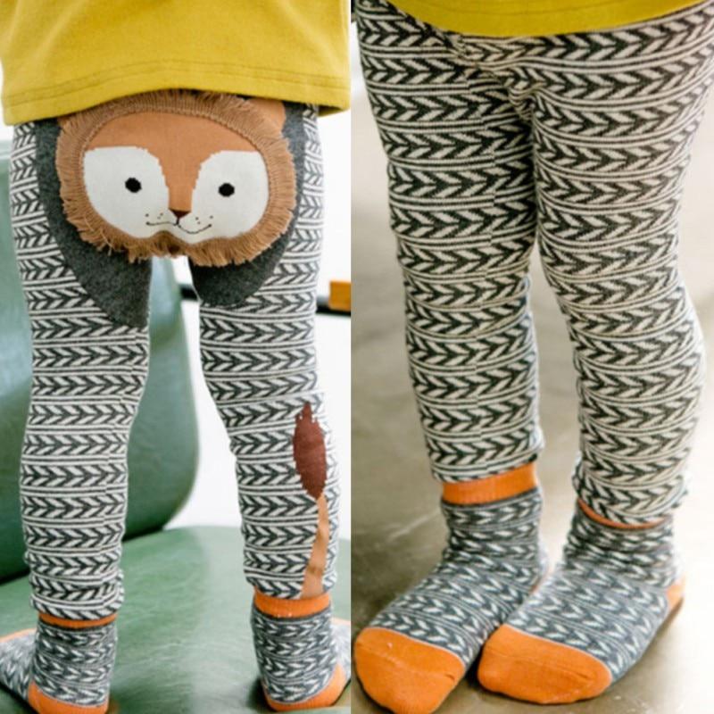 Baby Girls Tights Cartoon Animal Pattern Baby Boys Girls Pants Cotton PP Pants+Scoks 0-6Y