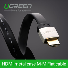 Ugreen hdmi плоский кабель с металлическим наконечником 1 м 2 м 3 м штекер мужской 1.4 В 3d 1080 P кабо hdmi для пк hdtv ps3 xbox appletv