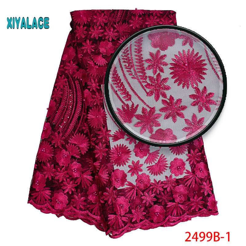 African Lace Fabric 2019 High Quality Lace 3D Flowers Tullle Lace Fabric French Beads Lace Fabric For Party Beads YA2499B-1