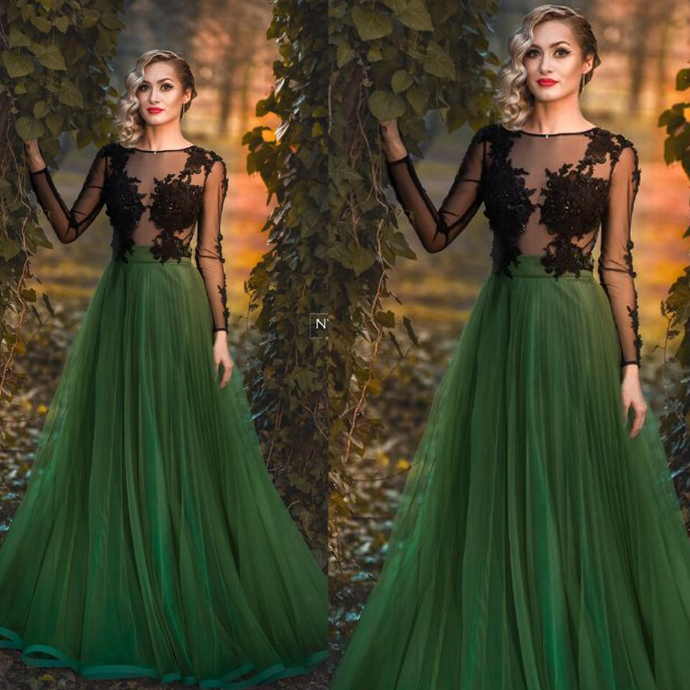 green   prom     dresses   sheer crew neckline lace appliques long sleeve tulle evening   dresses   vestido de festa longo