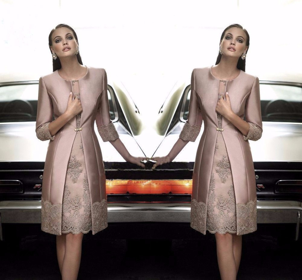 Fashion Mother Of The Bride Dresses Satin Long Coat Wedding Formal Guest Gown Outfits Half Sleeve