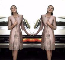 d98a43c7f0652 Moda Anne Gelin Elbiseler Saten Uzun Coat Düğün Örgün Konuk Elbisesi/Kıyafetler  Yarım Kollu Aplikler Kadınlar Akşam Suits