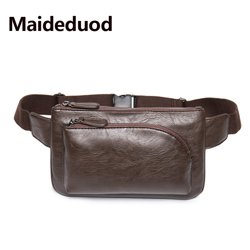 Maideduod Vintage Style Men Leather Belt Bag Brand Designer Men Waist Bag Hand Free Bags Gentleman Pouch Belt Waist Pack Convenient To Cook Fine Jewelry