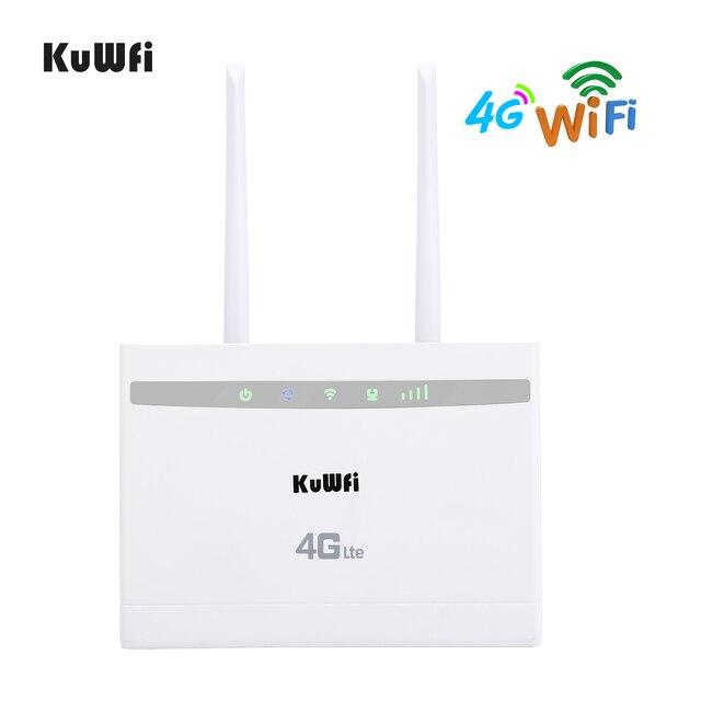 KuWfi 4G LTE CPE Router 150Mbps Wireless CPE Router 3G/4G SIM Card Router Wifi supporto 4G a Rete Cablata fino a 32 Dispositivi Wifi