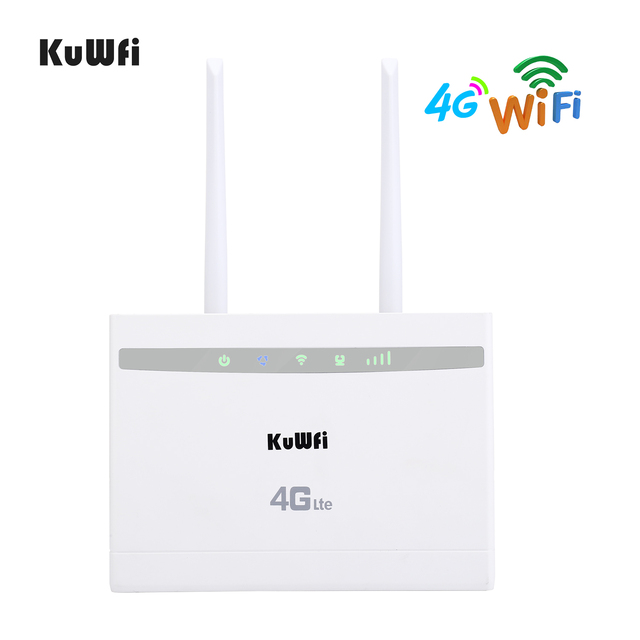 KuWfi 4G LTE CPE Router 150Mbps Wireless CPE Router 3G/4G SIM Card Wifi Router Support 4G to Wired Network up to 32 Wifi Devices