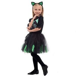 Image 5 - 女の子ハロウィンキティ衣装子供子供猫 Catwomen 動物コスプレカーニバル Purim 仮装舞台パーティードレス