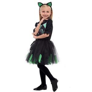 Image 5 - Kızlar cadılar bayramı Kitty kostüm çocuk çocuk kedi catwoman hayvan Cosplay karnaval Purim Masquerade sahne oyun parti elbise