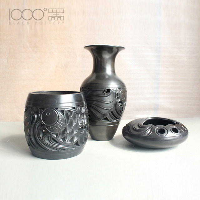 Handmade Ceramics Black Pottery Craft Gift Ideas Business Home Decoration  Value Pen Holder Ashtray Vase Fish