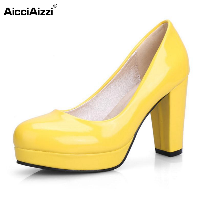 9Colors Size 32 43 Female High Heel Shoes Women Platform Candy Colors Patent Leather High Heels