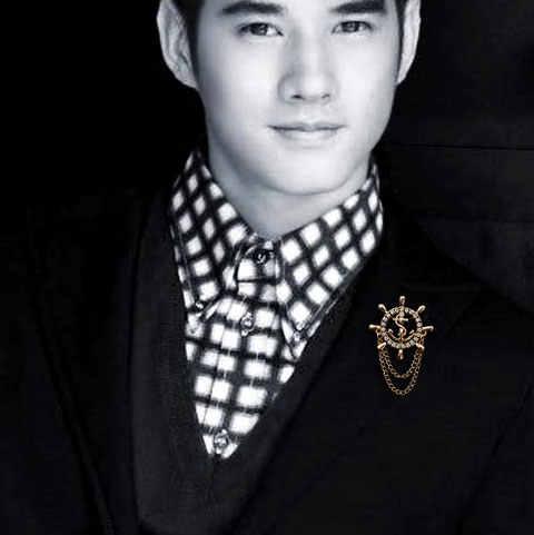 Emas Kemudi Jangkar Bros Pria Setelan Boutonniere Lencana Korea Bros untuk Pria Lapel Pin Wanita Broches Rantai Hadiah Natal